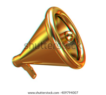 Gold loudspeaker as announcement icon. Illustration on white. 3D illustration. Anaglyph. View with red/cyan glasses to see in 3D. - stock photo