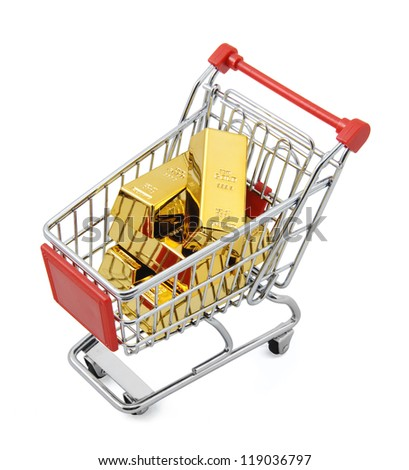 Gold market Gold bar in shopping cart. Isolated on white with clipping path. - stock photo