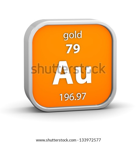 Gold material on the periodic table. Part of a series. - stock photo