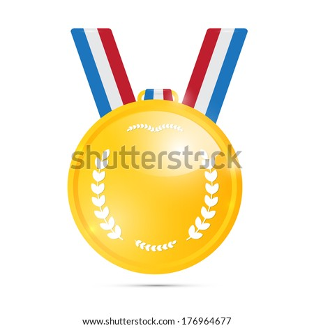 Gold Medal, Award Isolated on White Background  - stock photo