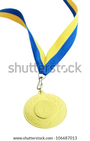 Gold medal for first place on the tape - stock photo