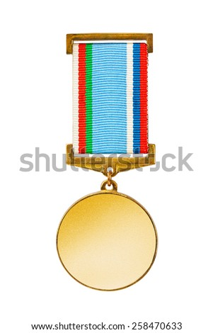 Gold medal isolated on white background - stock photo