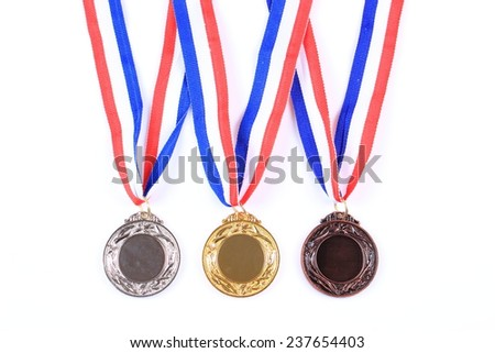 Gold medal on white background - stock photo
