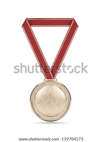 Gold medal with red ribbon isolated one wite - stock photo
