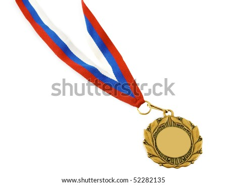 gold medal with ribbon isolated over white background - stock photo