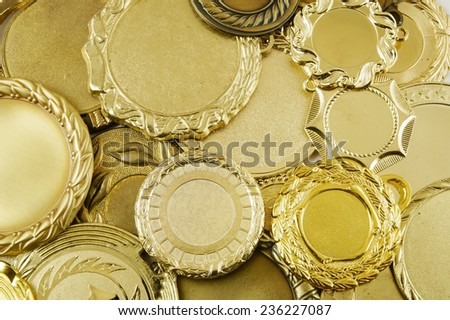 Gold medals background  - stock photo