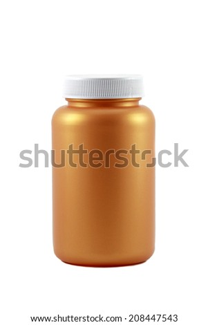Gold medical container on white background  - stock photo