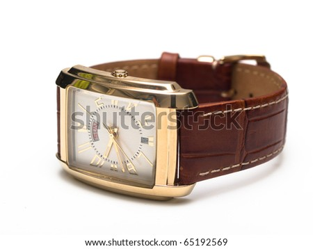 gold men's wristwatch with a white background - stock photo
