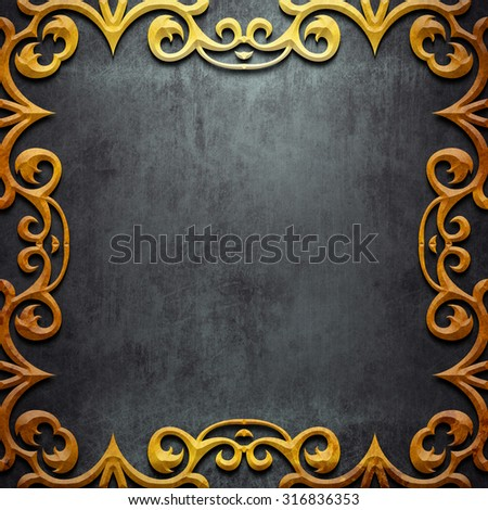 Gold metal  classic ornamental frame on black iron plate (vintage collection) - stock photo