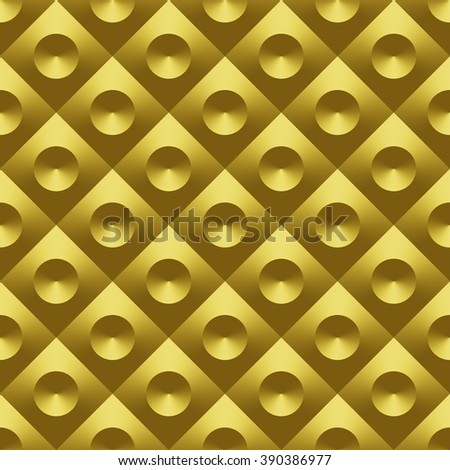 Gold metal 3D raster seamless pattern. Digitally generated geometric seamless pattern, golden metal tile with convex diamonds and sunken cones, can be used for 3D rendering. - stock photo