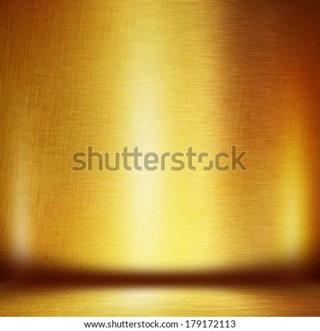 gold metal empty room - stock photo