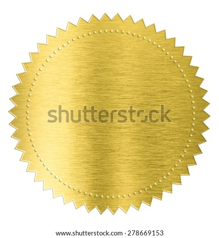 gold metal foil sticker seal label isolated with clipping path included - stock photo