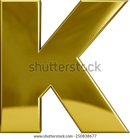 K Letter In Gold Gold metal K letter character isolated on white. Including clipping ...