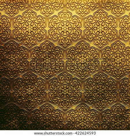 Gold metal plate with classic Arabic ornament. metal collection. Golden texture with metal carved Islamic pattern. Luxury metal design  - stock photo