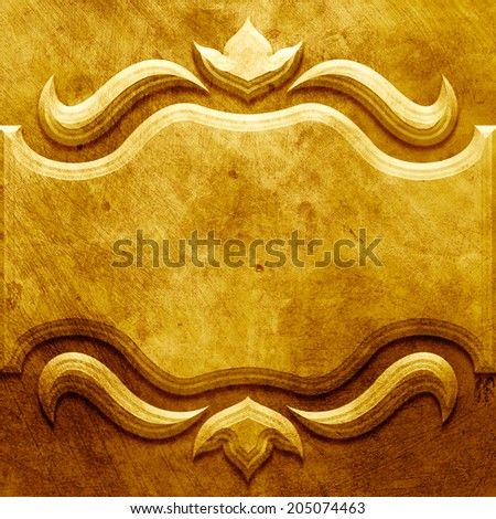 Gold metal plate with classic ornament - stock photo