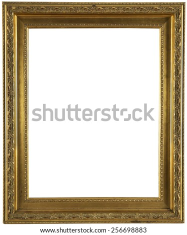 Gold metal style classic photo frame isolated on white - stock photo