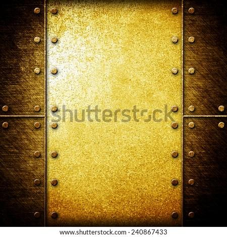 gold metal template - stock photo