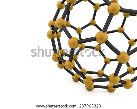 Gold molecular mesh tube structure rendered - stock photo