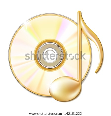 Gold musical note and cd disk - music icon. - stock photo