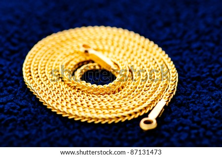 gold necklace - stock photo