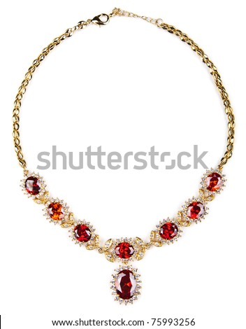 gold necklace with gems isolated - stock photo