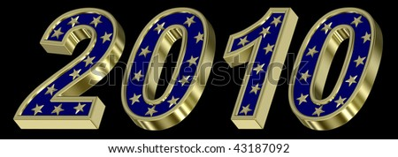 Gold New Year 2010 isolated on the black background. Computer generated 3D photo rendering. - stock photo