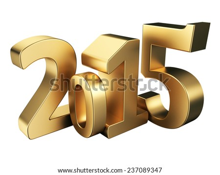 Gold 2015 new year on a white background. 3d rendered image  - stock photo