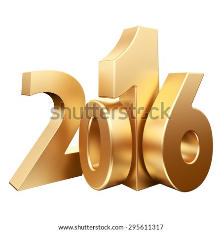 Gold 2016 new year on a white background. 3d rendered image - stock photo