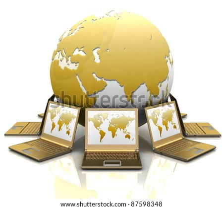 gold notebooks round a globe on a white background - stock photo