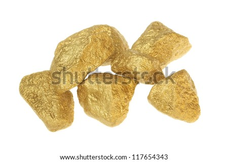 Gold nuggets stones on a white background. - stock photo
