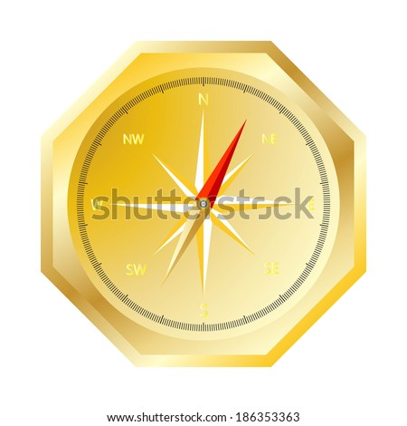 gold octagon compass isolated on white background raster - stock photo