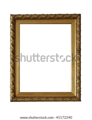gold old frame on white background - stock photo