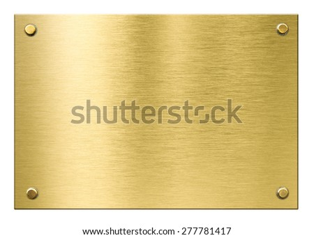 gold or brass metal plaque with rivets isolated - stock photo
