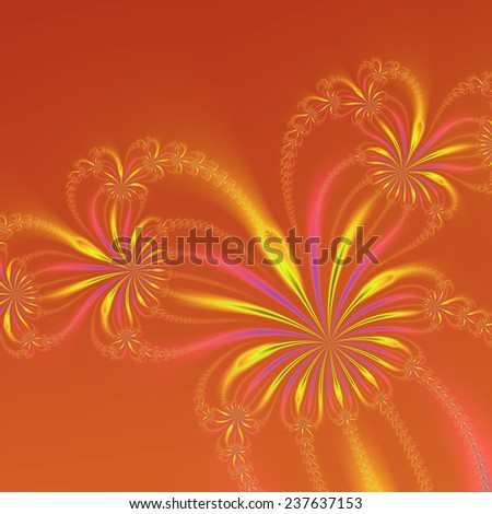 Gold Orange and Pink Abstract Flowers / An abstract fractal image with a string of flowers design in gold blue and pink on an orange background. - stock photo