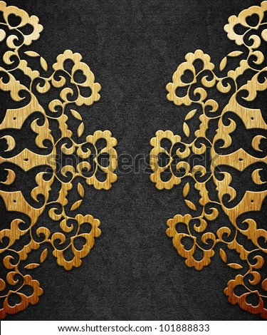 Gold ornament on black background - stock photo