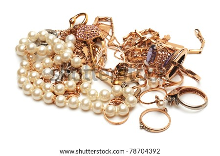 Gold ornaments isolated on a white background - stock photo