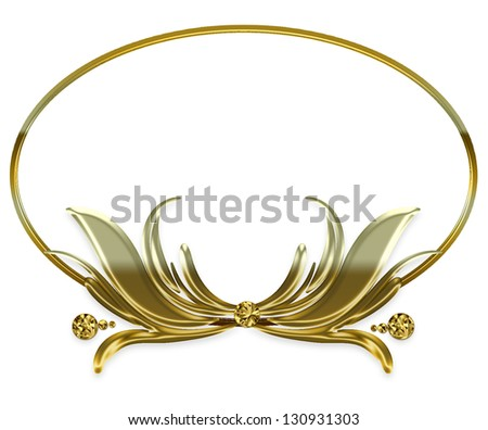 GOLD ORNATE FRAME - MIRRORED AFFECT - (Place on white background or isolate by using Photoshop wand to use for multi-purposes - Test area inside available - stock photo