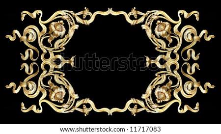 gold ornate on black background - stock photo