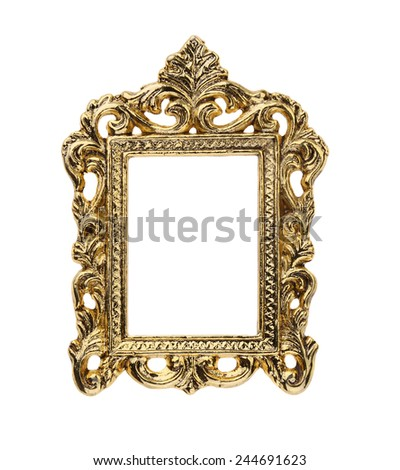 Gold Ornate Picture Frame - stock photo
