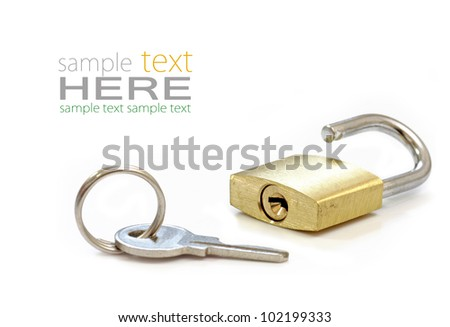 Gold Padlock. Isolated on white background. - stock photo