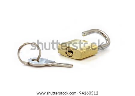 Gold Padlock. Isolated on white background. - stock photo