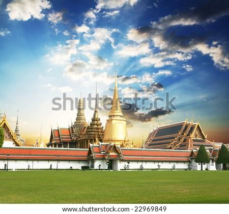 Gold palace in Bangkok - stock photo