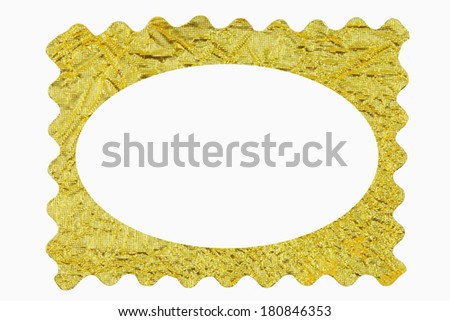 Gold paper to make a picture frame on a white background. - stock photo