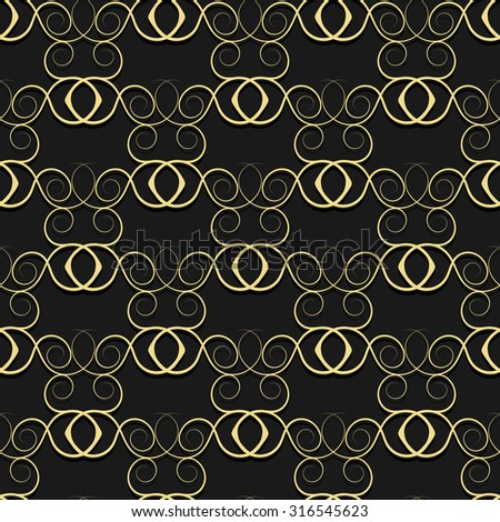 Gold pattern from curls on a black background. Rasterized version. - stock photo