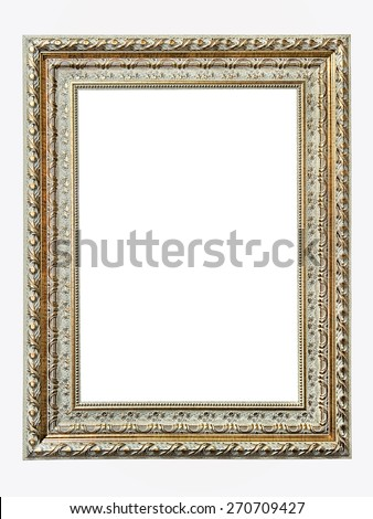 gold-patterned frame for a picture isolated on a white background - stock photo