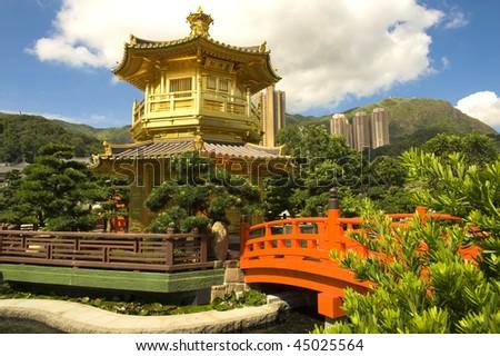 Gold pavilion in Chi lin Nunnery, Hong Kong - stock photo