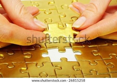 gold pazles - stock photo