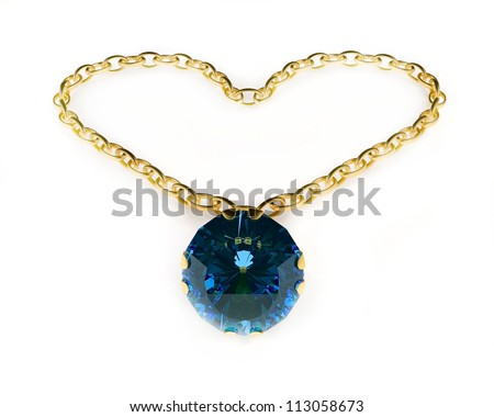 Gold pendant isolated on the white background - stock photo