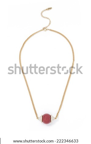 gold pendant with bead on a white background - stock photo