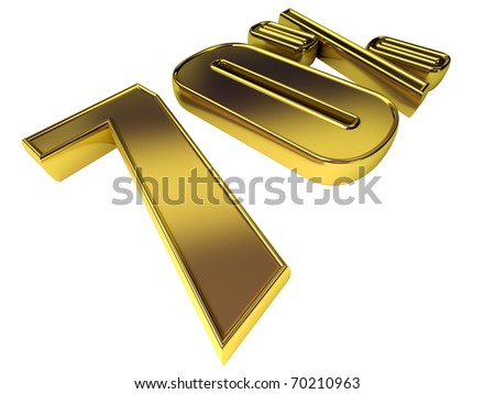 Gold 70 percent isolated on white background. - stock photo